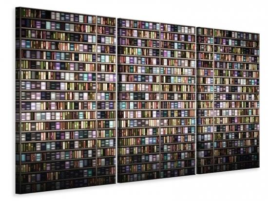 Leinwandbild 3-teilig Bücherregal