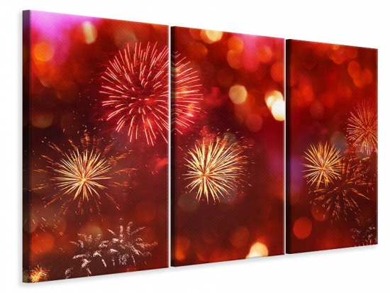 Leinwandbild 3-teilig Buntes Feuerwerk