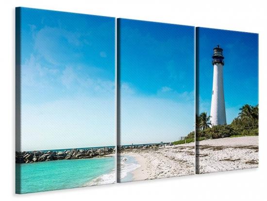 Leinwandbild 3-teilig Cape Florida Ligthhouse