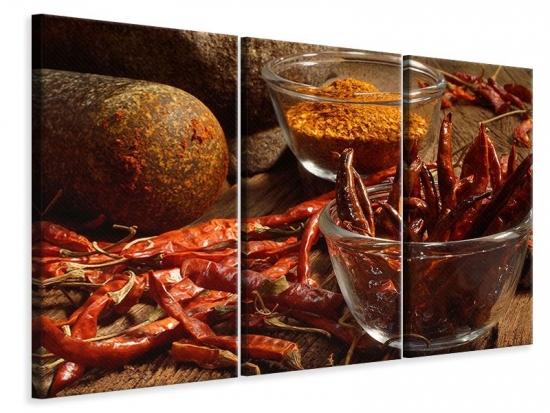 Leinwandbild 3-teilig Chili