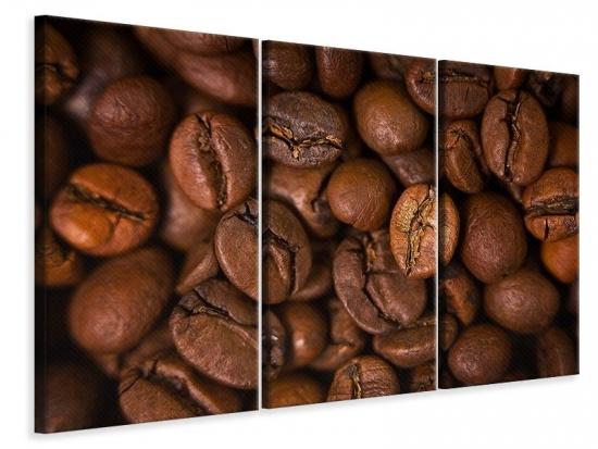 Leinwandbild 3-teilig Close Up Kaffeebohnen