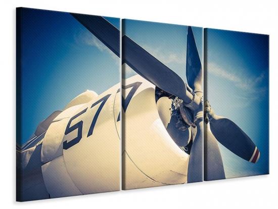 Leinwandbild 3-teilig Close Up Propellerflugzeug