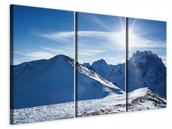 Leinwandbild 3-teilig Der Berg im Schnee
