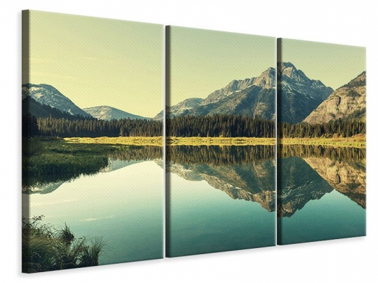 Leinwandbild 3-teilig Der Bergsee