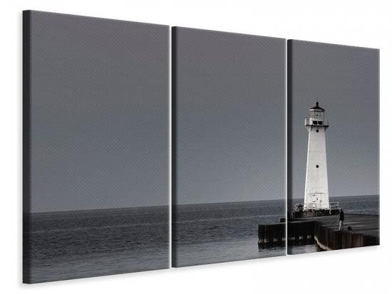 Leinwandbild 3-teilig Der Leuchtturm bei Nacht