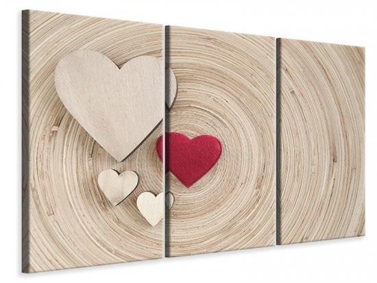 Leinwandbild 3-teilig Herzen
