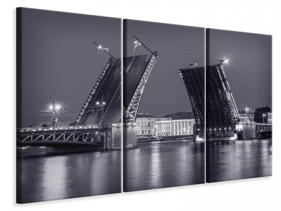 Leinwandbild 3-teilig Klappbrücke bei Nacht