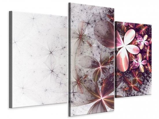 Leinwandbild 3-teilig modern Abstrakte Blumen