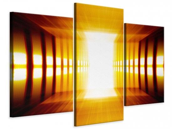 Leinwandbild 3-teilig modern Abstrakter Goldener Raum
