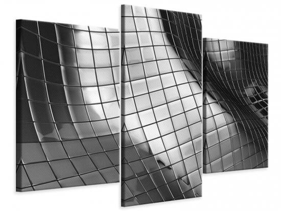 Leinwandbild 3-teilig modern Abstrakter Stahl