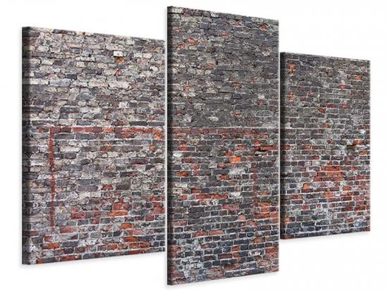 Leinwandbild 3-teilig modern Alte Backsteine