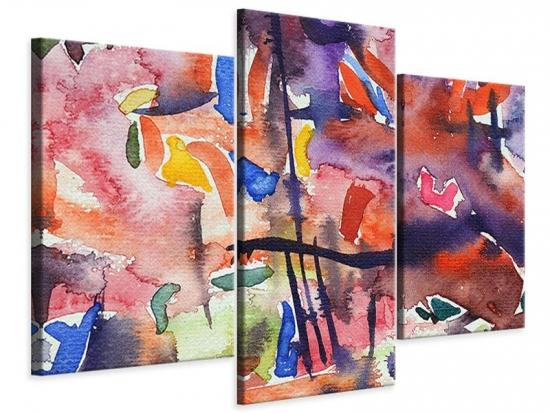 Leinwandbild 3-teilig modern Aquarell