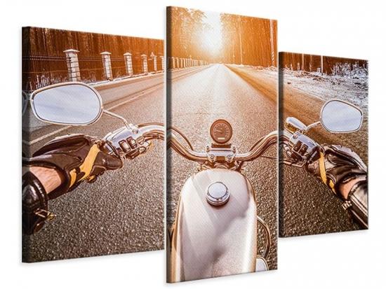 Leinwandbild 3-teilig modern Auf dem Motorrad