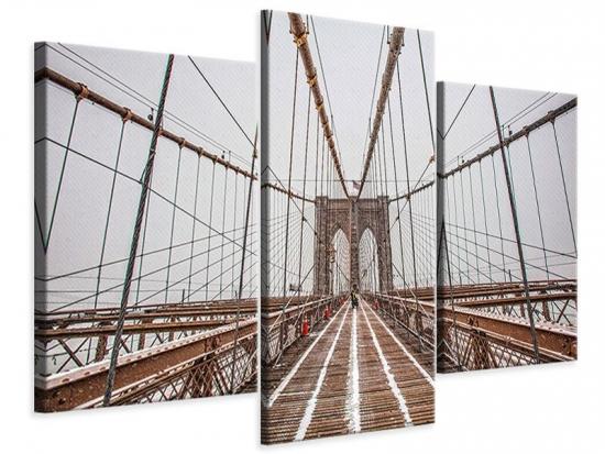 Leinwandbild 3-teilig modern Auf der Brooklyn Bridge