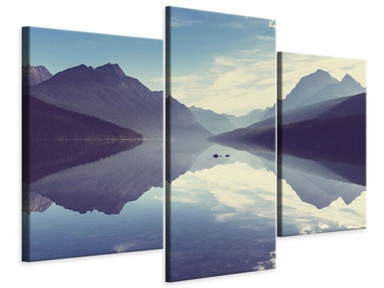 Leinwandbild 3-teilig modern Bergspiegelung