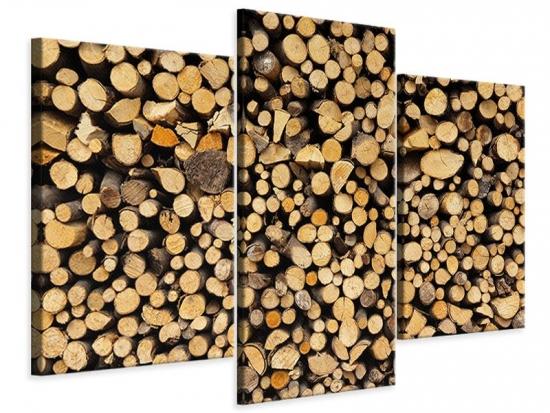 Leinwandbild 3-teilig modern Brennholz