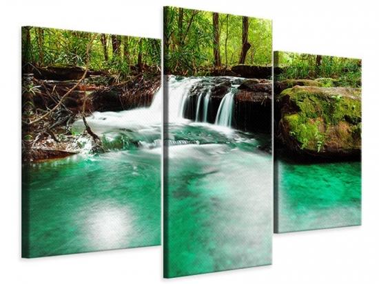 Leinwandbild 3-teilig modern Der Fluss am Wasserfall