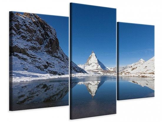 Leinwandbild 3-teilig modern Der Riffelsee am Matterhorn