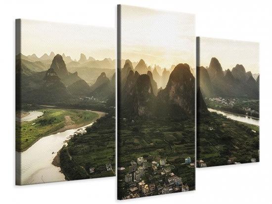Leinwandbild 3-teilig modern Die Berge von Xingping