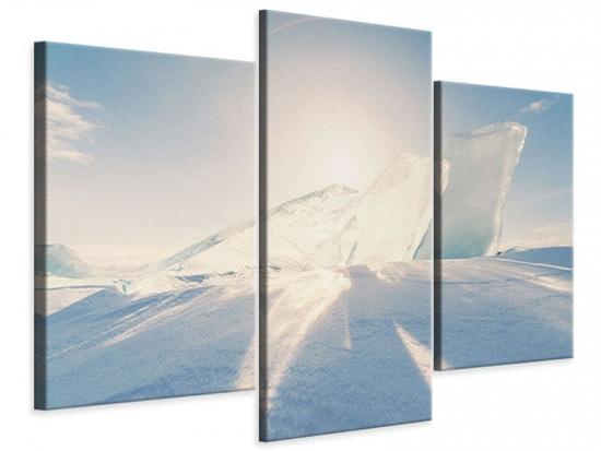 Leinwandbild 3-teilig modern Eislandschaft