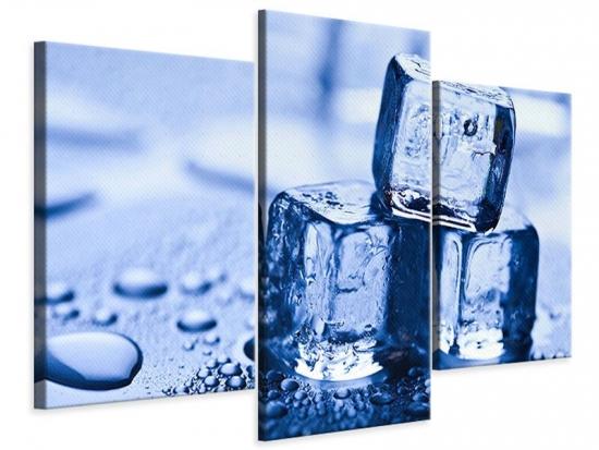 Leinwandbild 3-teilig modern Eiswürfel