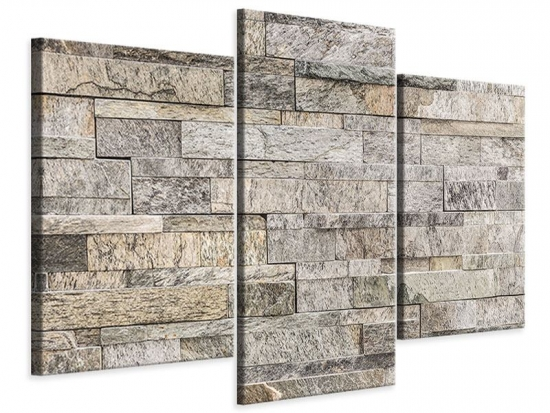 Leinwandbild 3-teilig modern Elegante Steinmauer