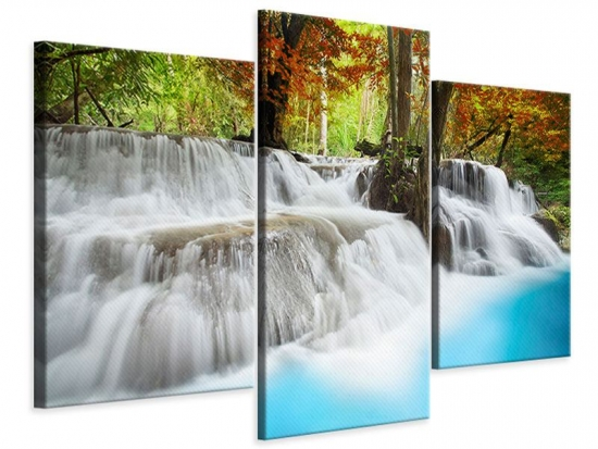 Leinwandbild 3-teilig modern Erawan Wasserfall