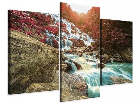 Leinwandbild 3-teilig modern Exotischer Wasserfall