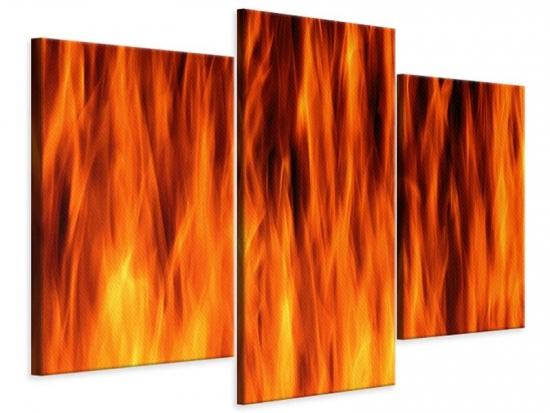 Leinwandbild 3-teilig modern Feuer Close Up