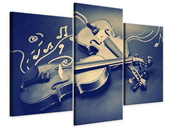 Leinwandbild 3-teilig modern Geigen