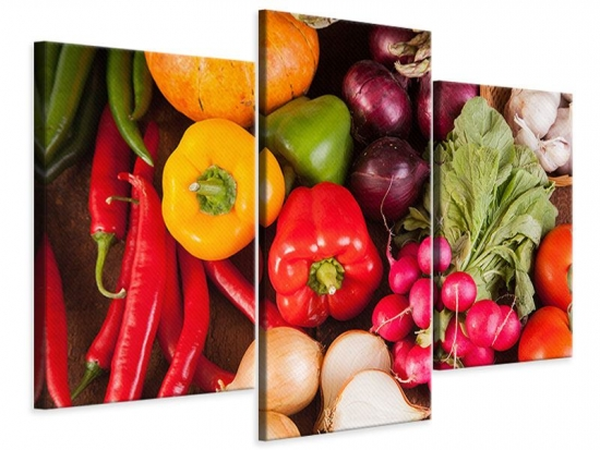 Leinwandbild 3-teilig modern Gemüsefrische