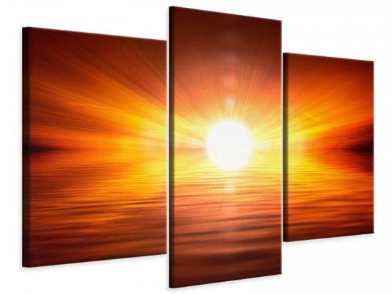 Leinwandbild 3-teilig modern Glühender Sonnenuntergang