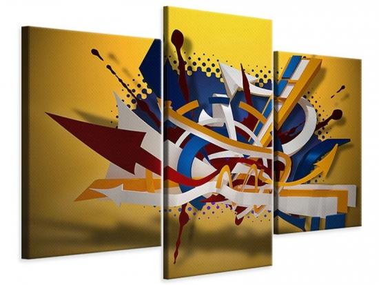 Leinwandbild 3-teilig modern Graffiti Art