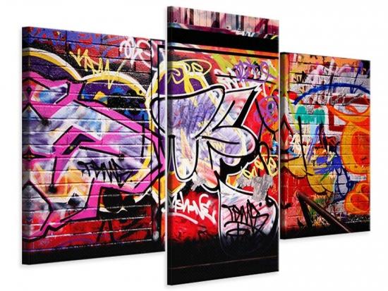 Leinwandbild 3-teilig modern Graffiti Kunst