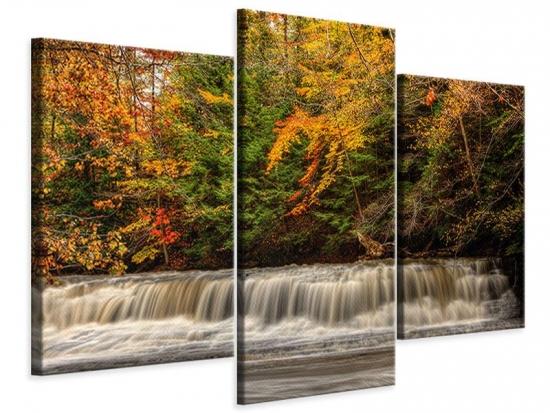 Leinwandbild 3-teilig modern Herbst beim Wasserfall