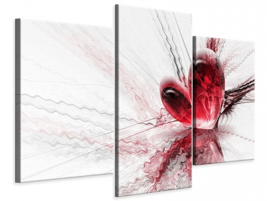 Leinwandbild 3-teilig modern Herzspiegelung