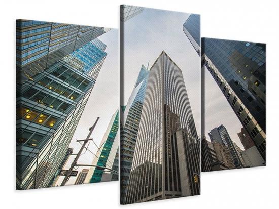 Leinwandbild 3-teilig modern Hochhäuser