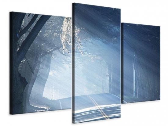 Leinwandbild 3-teilig modern Lichtdurchflutete Baumallee