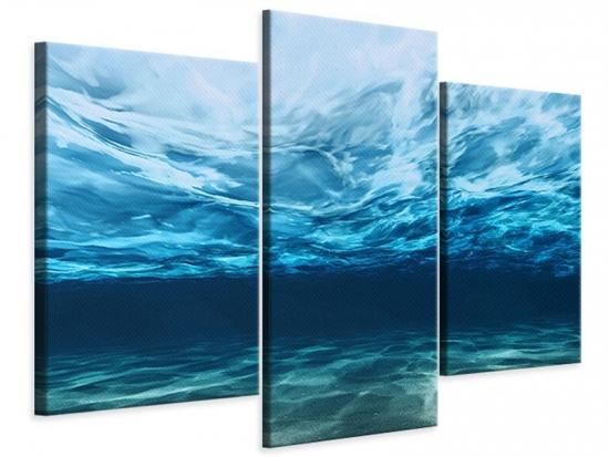 Leinwandbild 3-teilig modern Lichtspiegelungen unter Wasser