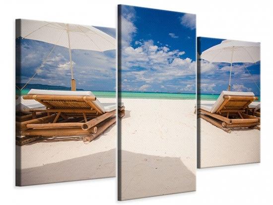 Leinwandbild 3-teilig modern Liegen am Strand