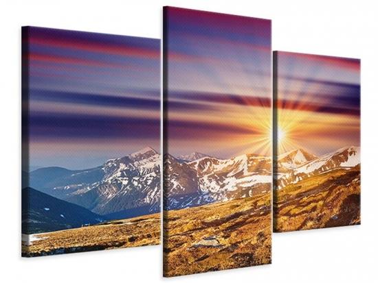 Leinwandbild 3-teilig modern Majestätischer Sonnuntergang am Berggipfel