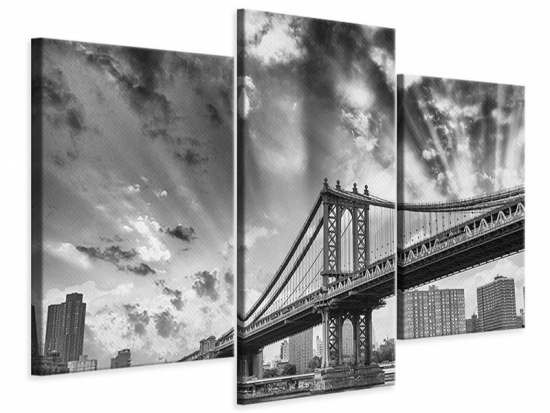 Leinwandbild 3-teilig modern Manhattan Bridge