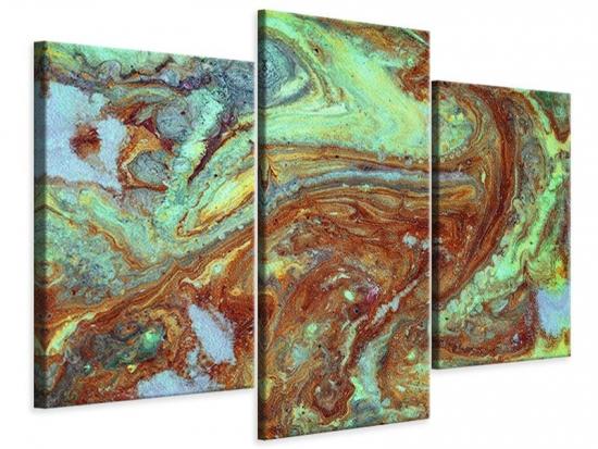 Leinwandbild 3-teilig modern Marmor in Grün