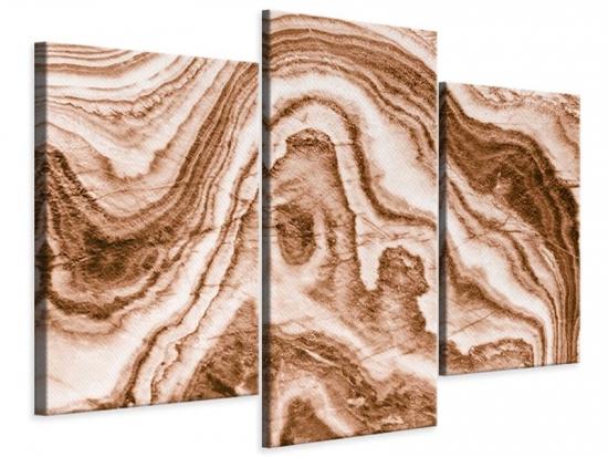 Leinwandbild 3-teilig modern Marmor in Sepia
