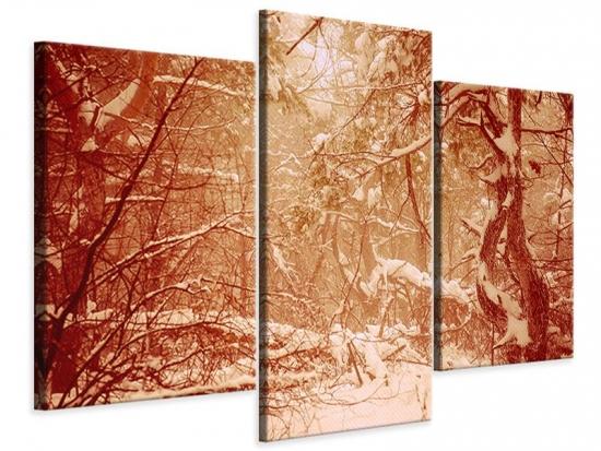 Leinwandbild 3-teilig modern Schneewald