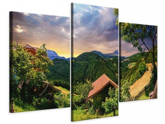 Leinwandbild 3-teilig modern Schweizer Berge im Sommer