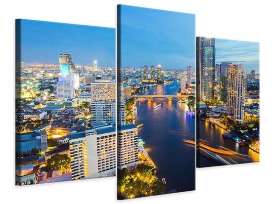 Leinwandbild 3-teilig modern Skyline Bangkok bei Sonnenuntergang