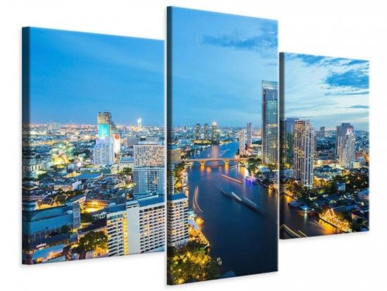 Leinwandbild 3-teilig modern Skyline Bangkok in der Abenddämmerung