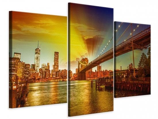 Leinwandbild 3-teilig modern Skyline Brooklyn Bridge NY