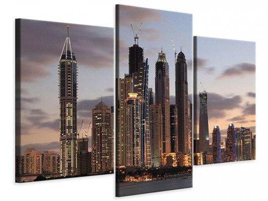 Leinwandbild 3-teilig modern Skyline Dubai bei Sonnenuntergang